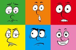 Seis expressões faciais em plano de fundo diferente vetor