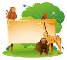 Modelo de placa de madeira com animais selvagens vetor
