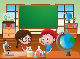Cena de sala de aula com crianças fazendo experimento científico vetor