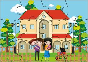 Jogo de quebra-cabeça com a família em casa vetor