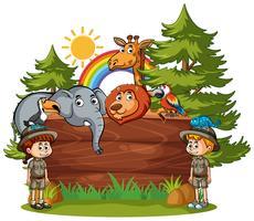 Modelo de placa de madeira com crianças e animais