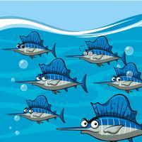 Muitos espadarte sob o oceano vetor