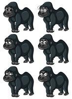 Gorila com emoções diferentes vetor