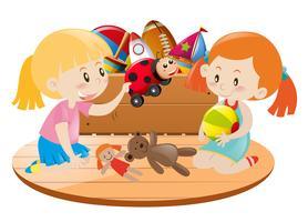 Duas meninas, tocando, com, brinquedos, em, sala vetor