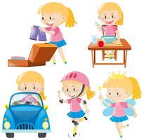 Garota de rosa fazendo atividades diferentes
