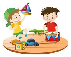 Meninos brincando com brinquedos vetor