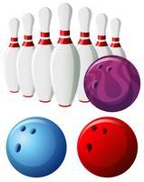 Pinos de boliche e bolas em cores diferentes vetor
