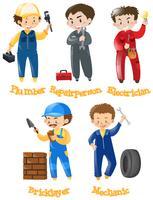 Diferentes tipos de trabalhos de construção vetor