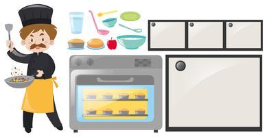 Conjunto de equipamentos de chef e cozinha vetor