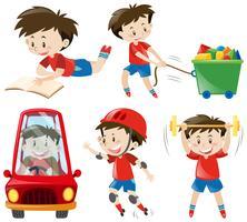 Menino, em, camisas vermelhas, fazendo, diferente, ações