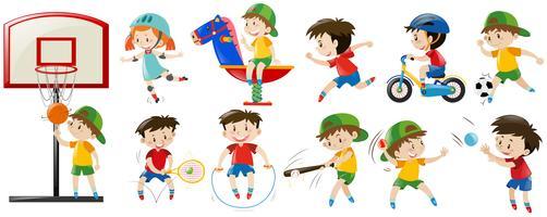 Crianças jogando esportes diferentes e jogo