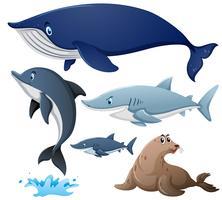 Tubarões e outros animais marinhos vetor