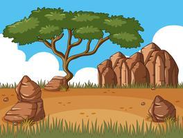 Cena, com, árvore, em, a, campo vetor