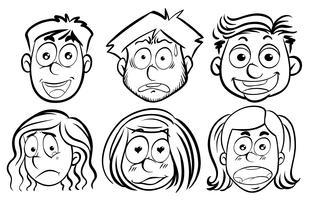 Seis rostos com emoções diferentes vetor