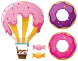 Balão de doces e donuts vetor