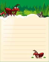Modelo de papel com duas formigas vermelhas vetor