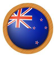 Bandeira da Nova Zelândia no botão redondo vetor