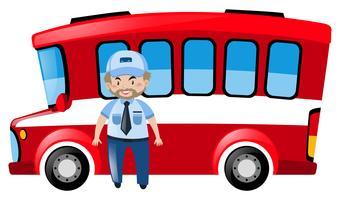 Motorista de ônibus e ônibus vermelho vetor