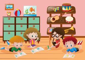 Crianças, leitura, livros, sala vetor
