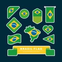 Vetor de conjunto de clipart de bandeira do Brasil