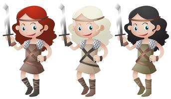Três, femininas, guerreiros, segurando, espadas vetor