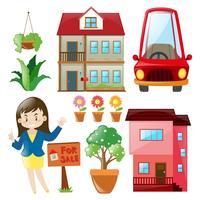 Agente imobiliário e edifícios vetor