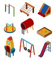 Design 3D para estações de jogo diferentes no playground vetor