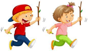 Menino menina, com, vara madeira vetor
