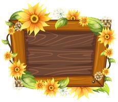 Moldura de madeira com flor vetor