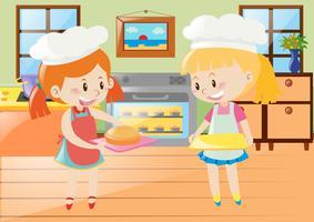 Duas meninas, assando torta, em, cozinha vetor
