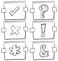 Diferentes, sinais, ligado, risco, papeis vetor