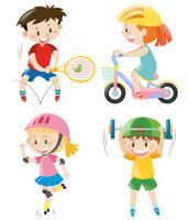Meninos e meninas fazendo exercícios diferentes