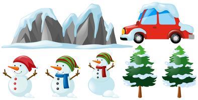 Inverno definido com boneco de neve e árvore vetor