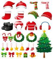 Conjunto de Natal com enfeites e roupas vetor