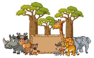 Modelo de banner com animais selvagens vetor