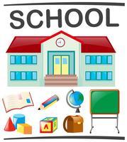 Escola, jogo, com, edifício escola, e, objetos vetor
