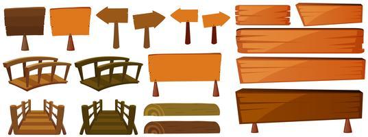 Sinais e pontes de madeira vetor