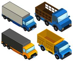 Design 3D para diferentes tipos de caminhões vetor
