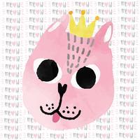 gato engraçado rosa aquarela com cartão de feliz aniversário de coroa