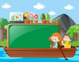 Design de fronteira com crianças no barco vetor