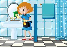 Mulher, limpeza, pia, em, a, banheiro vetor