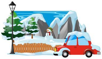 Cena de inverno com boneco de neve e carro vetor