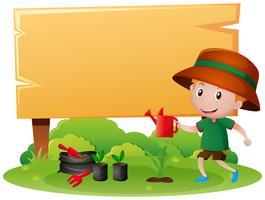 Placa de madeira com menino regando a planta vetor