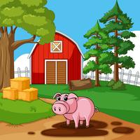 Porco bonito jogando lama na fazenda vetor