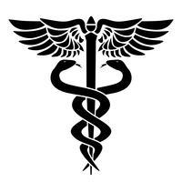 Símbolo médico de caduceu, com duas cobras, pessoal e asas, ilustração vetorial