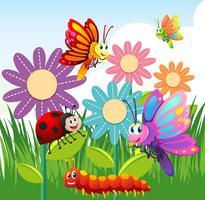 Tipos diferentes de insetos no jardim vetor