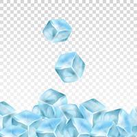 Cubos de gelo realista sobre um fundo transparente. Ilustração vetorial