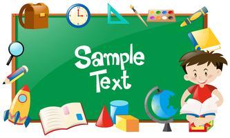 Design de fronteira com menino lendo e objetos escolares vetor