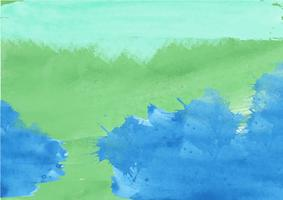 Mão colorida pintado fundo aquarela. Verde e pinceladas de aquarela azul. Textura e fundo abstratos da aguarela para o projeto. Fundo aquarela sobre papel texturizado. vetor