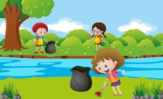 Crianças limpando o parque vetor